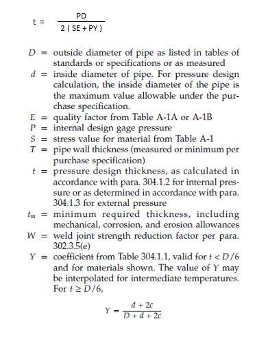 asme B31.3 design thickness