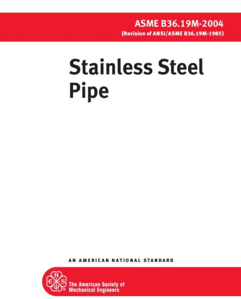 asme 36.19 stainless steel pipe charts schedule